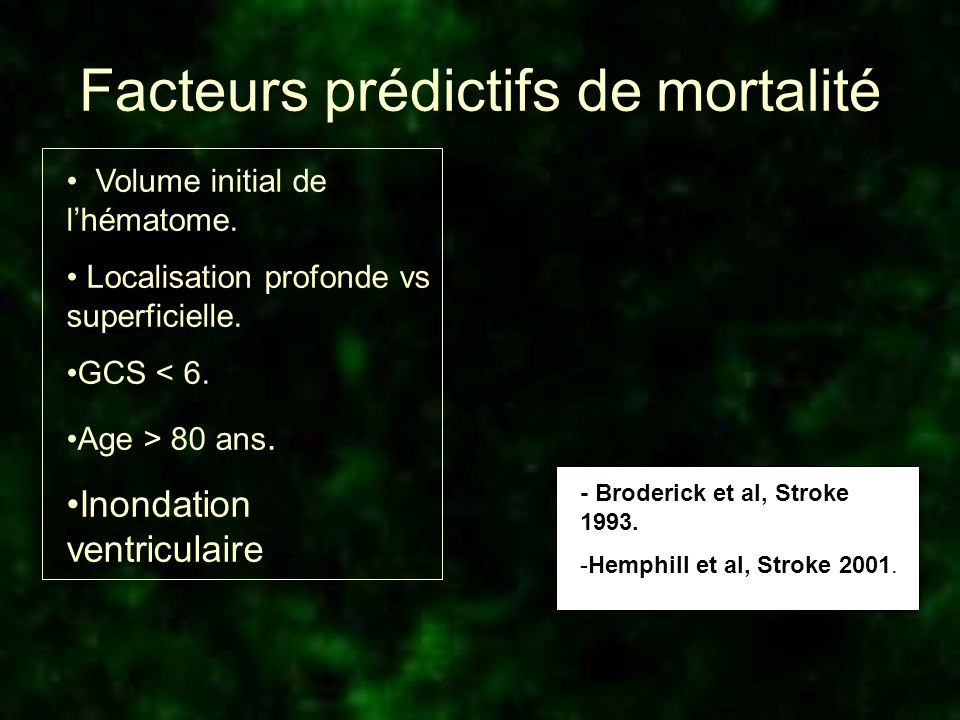 Facteurs prédictifs de mortalité Volume initial de lhématome. Localisation profonde vs superficielle. GCS < 6. Age > 80 ans. Inondation ventriculaire