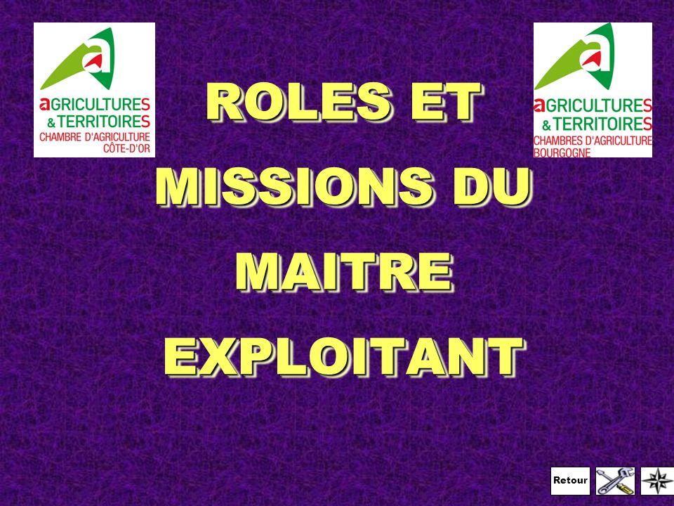 Retour ROLES ET MISSIONS DU MAITRE EXPLOITANT