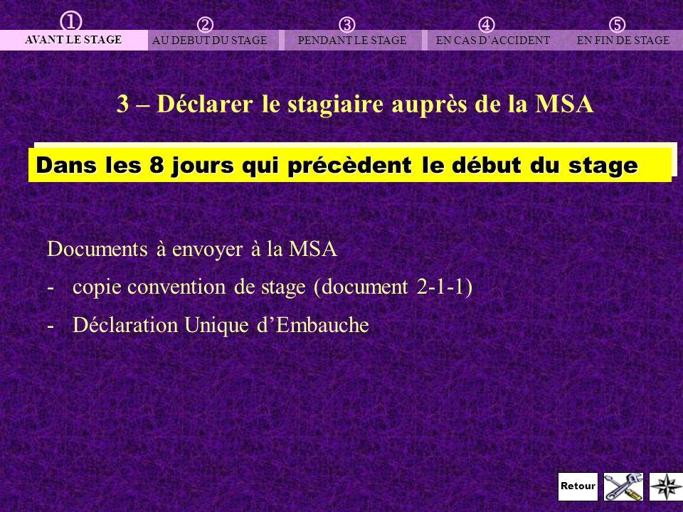 Retour 3 – Déclarer le stagiaire auprès de la MSA Documents à envoyer à la MSA -copie convention de stage (document 2-1-1) -Déclaration Unique dEmbauc
