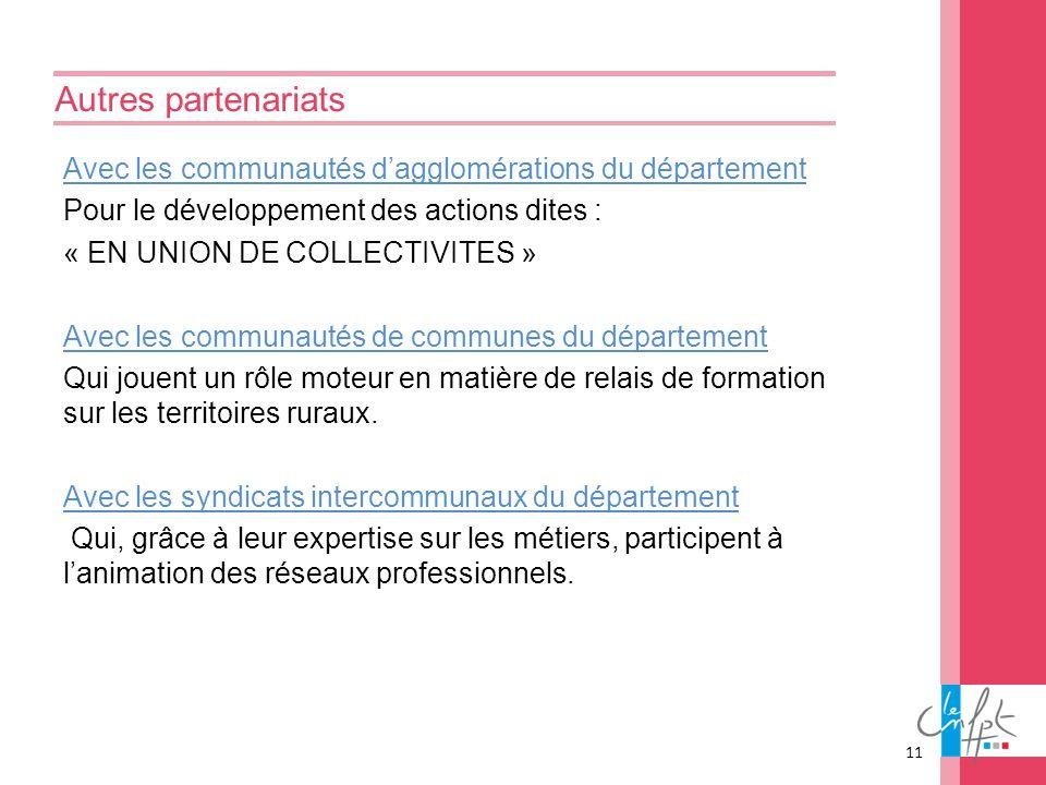 Autres partenariats Avec les communautés dagglomérations du département Pour le développement des actions dites : « EN UNION DE COLLECTIVITES » Avec l