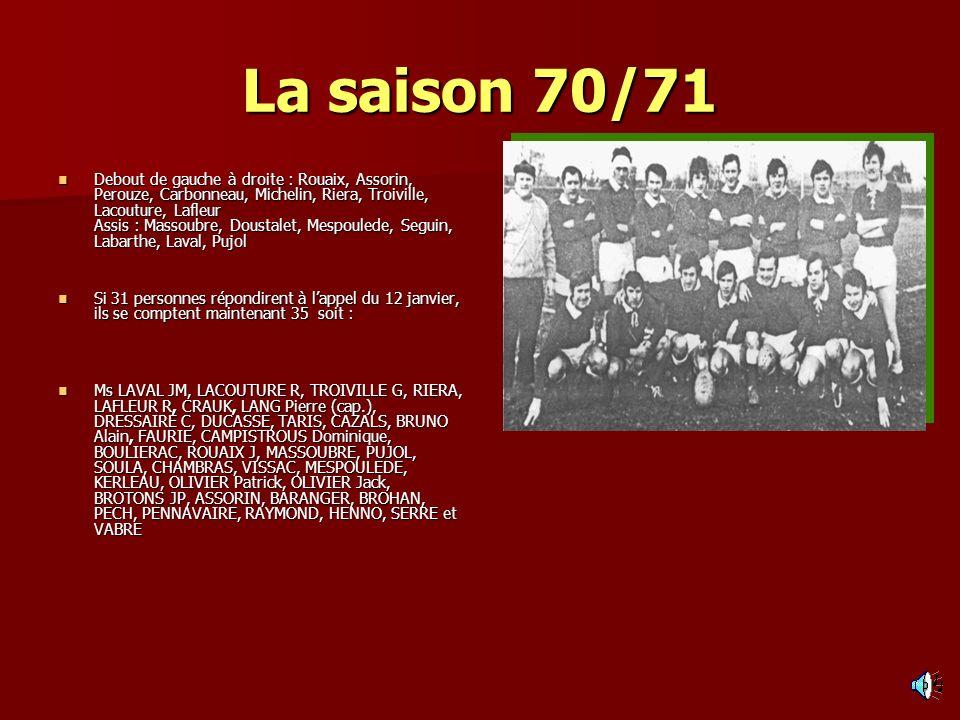 La saison 70/71 Debout de gauche à droite : Rouaix, Assorin, Perouze, Carbonneau, Michelin, Riera, Troiville, Lacouture, Lafleur Assis : Massoubre, Do