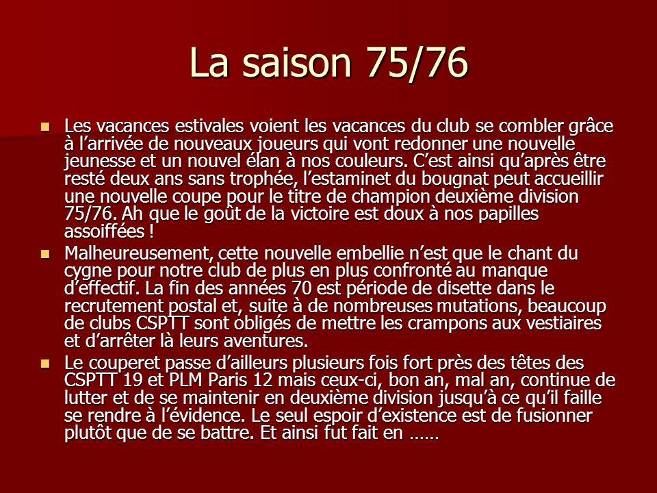La saison 75/76 Les vacances estivales voient les vacances du club se combler grâce à larrivée de nouveaux joueurs qui vont redonner une nouvelle jeunesse et un nouvel élan à nos couleurs.