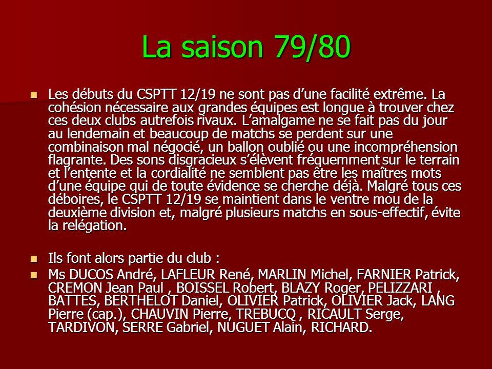 La saison 79/80 Les débuts du CSPTT 12/19 ne sont pas dune facilité extrême. La cohésion nécessaire aux grandes équipes est longue à trouver chez ces