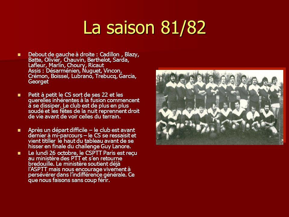 La saison 81/82 Debout de gauche à droite : Cadillon, Blazy, Batte, Olivier, Chauvin, Berthelot, Sarda, Lafleur, Marlin, Choury, Ricaut Assis : Désarm