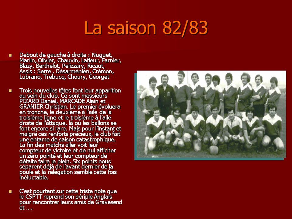 La saison 82/83 Debout de gauche à droite : Nuguet, Marlin, Olivier, Chauvin, Lafleur, Farnier, Blazy, Berthelot, Pelizzary, Ricaut, Assis : Serre, Dé