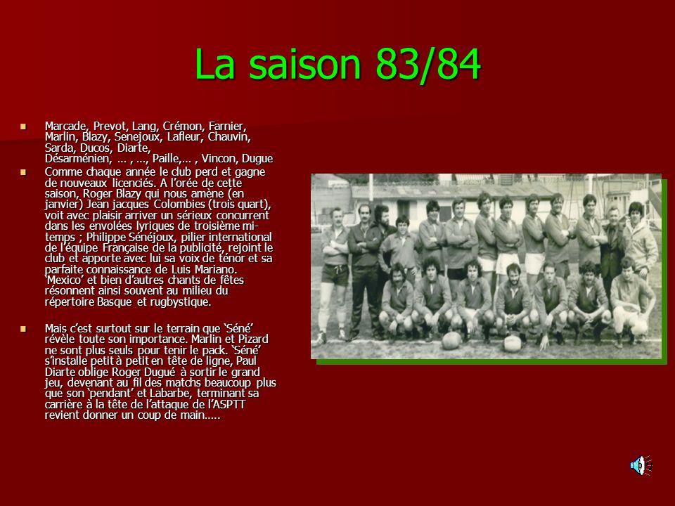 La saison 83/84 Marcade, Prevot, Lang, Crémon, Farnier, Marlin, Blazy, Senejoux, Lafleur, Chauvin, Sarda, Ducos, Diarte, Désarménien, …, …, Paille,…,