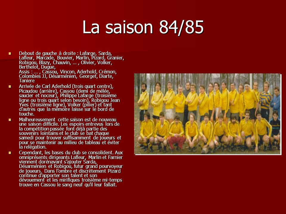 La saison 84/85 Debout de gauche à droite : Lafarge, Sarda, Lafleur, Marcade, Bouvier, Marlin, Pizard, Granier, Robigou, Blazy, Chauvin, …, Olivier, V