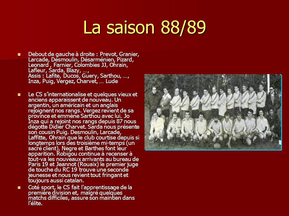 La saison 88/89 Debout de gauche à droite : Prevot, Granier, Larcade, Desmoulin, Désarménien, Pizard, Leonard, Farnier, Colombies JJ, Ohrain, Lafleur,