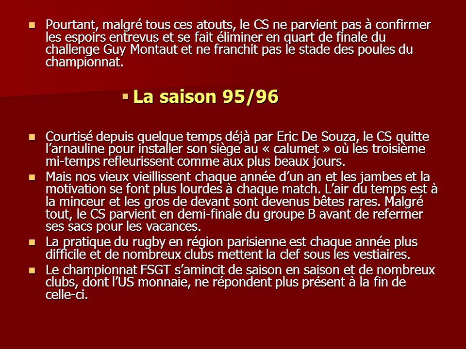 Pourtant, malgré tous ces atouts, le CS ne parvient pas à confirmer les espoirs entrevus et se fait éliminer en quart de finale du challenge Guy Montaut et ne franchit pas le stade des poules du championnat.