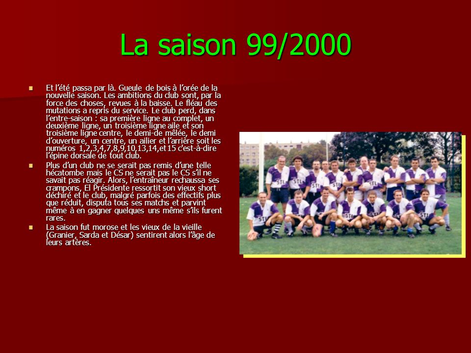 La saison 99/2000 Et lété passa par là. Gueule de bois à lorée de la nouvelle saison. Les ambitions du club sont, par la force des choses, revues à la