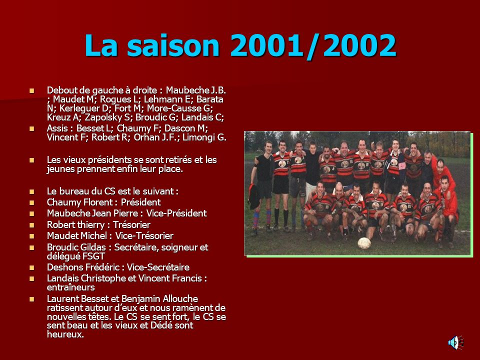 La saison 2001/2002 Debout de gauche à droite : Maubeche J.B. ; Maudet M; Rogues L; Lehmann E; Barata N; Kerleguer D; Fort M; More-Causse G; Kreuz A;