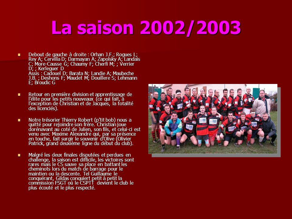 La saison 2002/2003 Debout de gauche à droite : Orhan J.F.; Rogues L; Rey A; Cervilla D; Darmayan A; Zapolsky A; Landais C; More-Causse G; Chaumy F; C