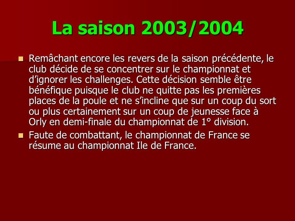 La saison 2003/2004 Remâchant encore les revers de la saison précédente, le club décide de se concentrer sur le championnat et dignorer les challenges.