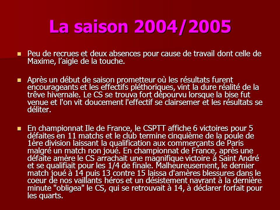 La saison 2004/2005 Peu de recrues et deux absences pour cause de travail dont celle de Maxime, laigle de la touche. Peu de recrues et deux absences p
