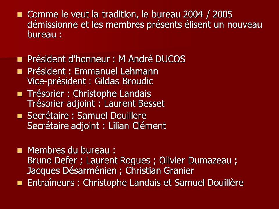 Comme le veut la tradition, le bureau 2004 / 2005 démissionne et les membres présents élisent un nouveau bureau : Comme le veut la tradition, le burea