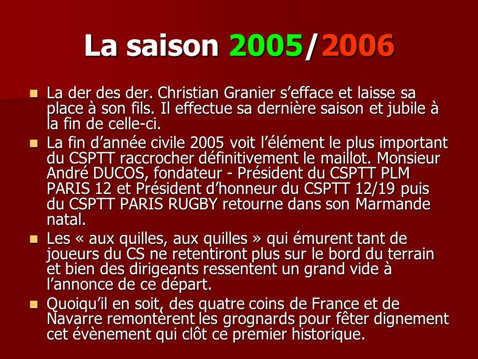 La saison 2005/2006 La der des der. Christian Granier sefface et laisse sa place à son fils. Il effectue sa dernière saison et jubile à la fin de cell