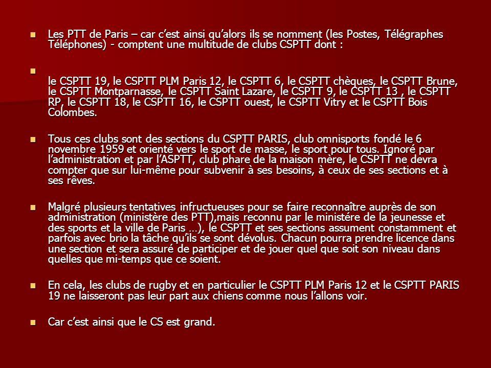 Les PTT de Paris – car cest ainsi qualors ils se nomment (les Postes, Télégraphes Téléphones) - comptent une multitude de clubs CSPTT dont : Les PTT d
