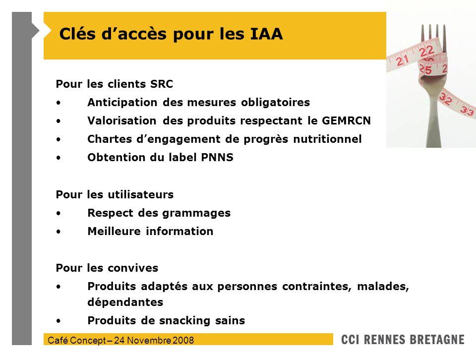 Café Concept – 24 Novembre 2008 Clés daccès pour les IAA Pour les clients SRC Anticipation des mesures obligatoires Valorisation des produits respecta