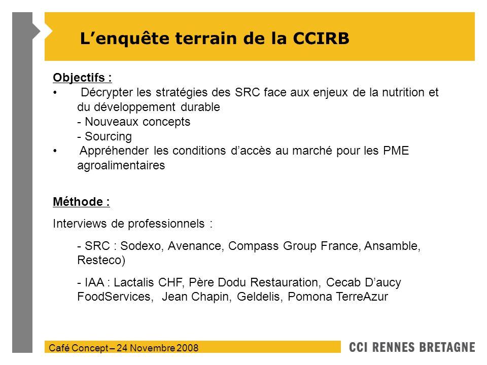 Café Concept – 24 Novembre 2008 Lenquête terrain de la CCIRB Objectifs : Décrypter les stratégies des SRC face aux enjeux de la nutrition et du dévelo