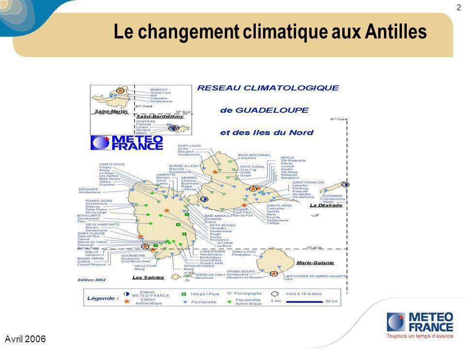 Avril 2006 2 Le changement climatique aux Antilles