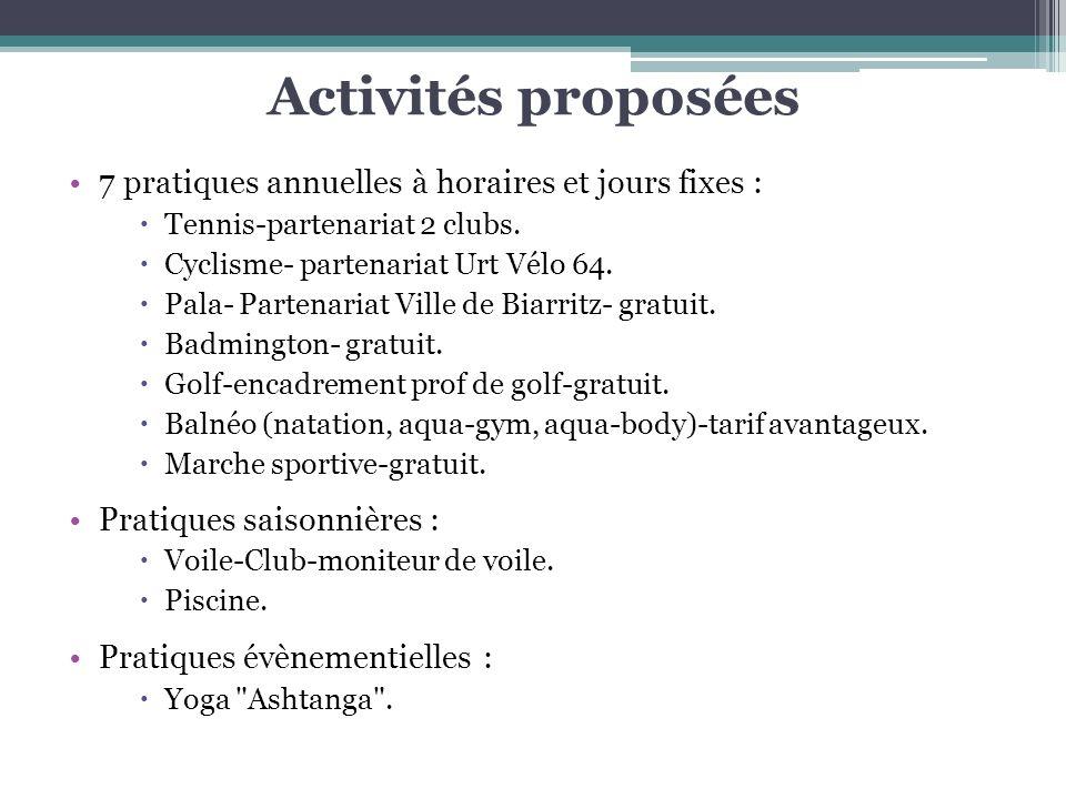 Activités proposées 7 pratiques annuelles à horaires et jours fixes : Tennis-partenariat 2 clubs. Cyclisme- partenariat Urt Vélo 64. Pala- Partenariat
