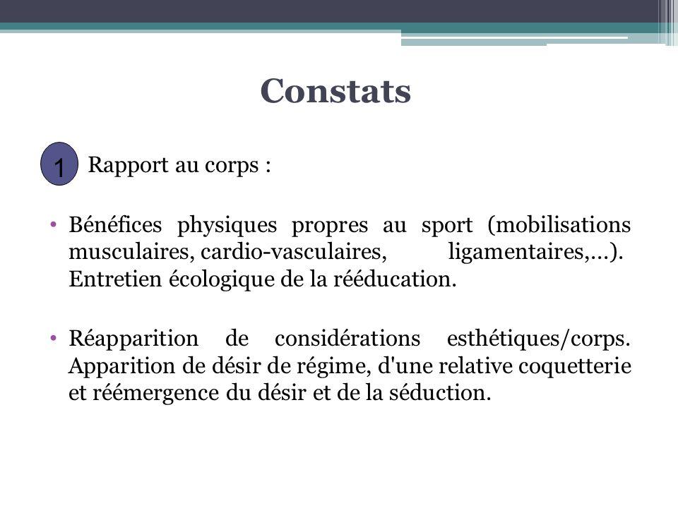 Constats Rapport au corps : Bénéfices physiques propres au sport (mobilisations musculaires, cardio-vasculaires, ligamentaires,...). Entretien écologi