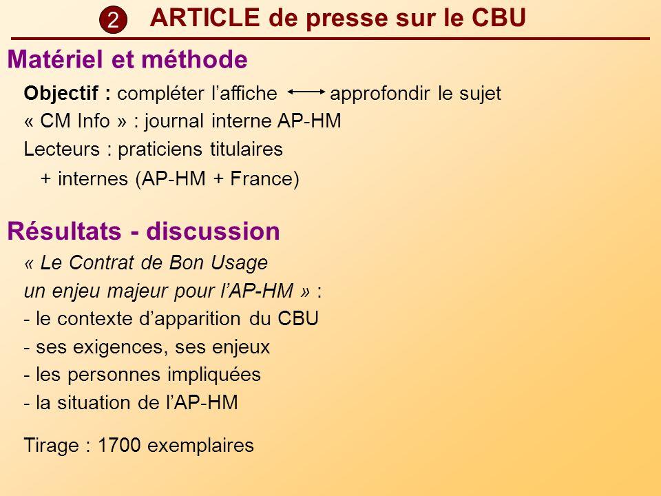 ARTICLE de presse sur le CBU Objectif : compléter laffiche approfondir le sujet « CM Info » : journal interne AP-HM Lecteurs : praticiens titulaires +