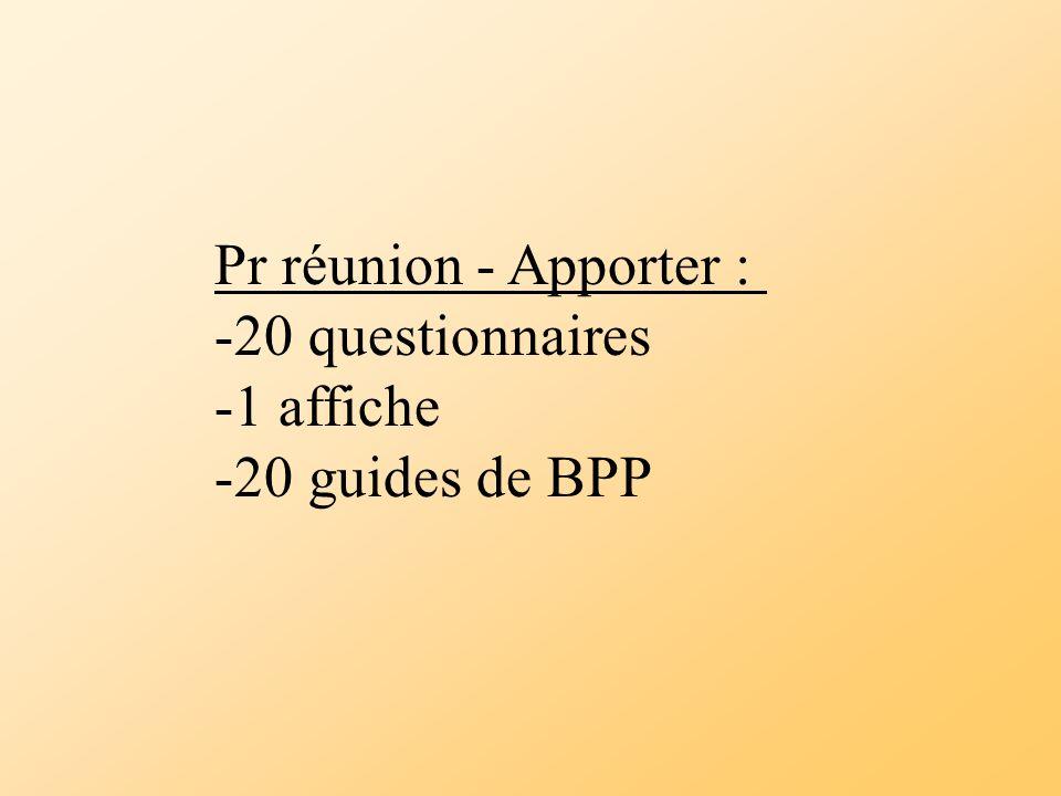 Pr réunion - Apporter : -20 questionnaires -1 affiche -20 guides de BPP