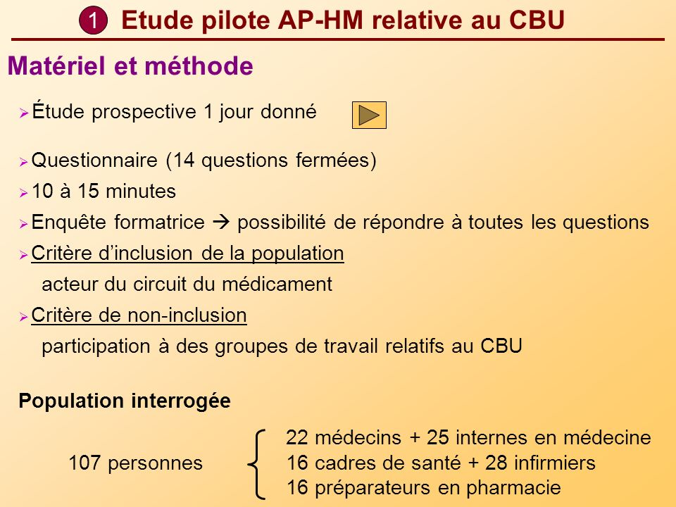 Etude pilote AP-HM relative au CBU Étude prospective 1 jour donné Questionnaire (14 questions fermées) 10 à 15 minutes Enquête formatrice possibilité
