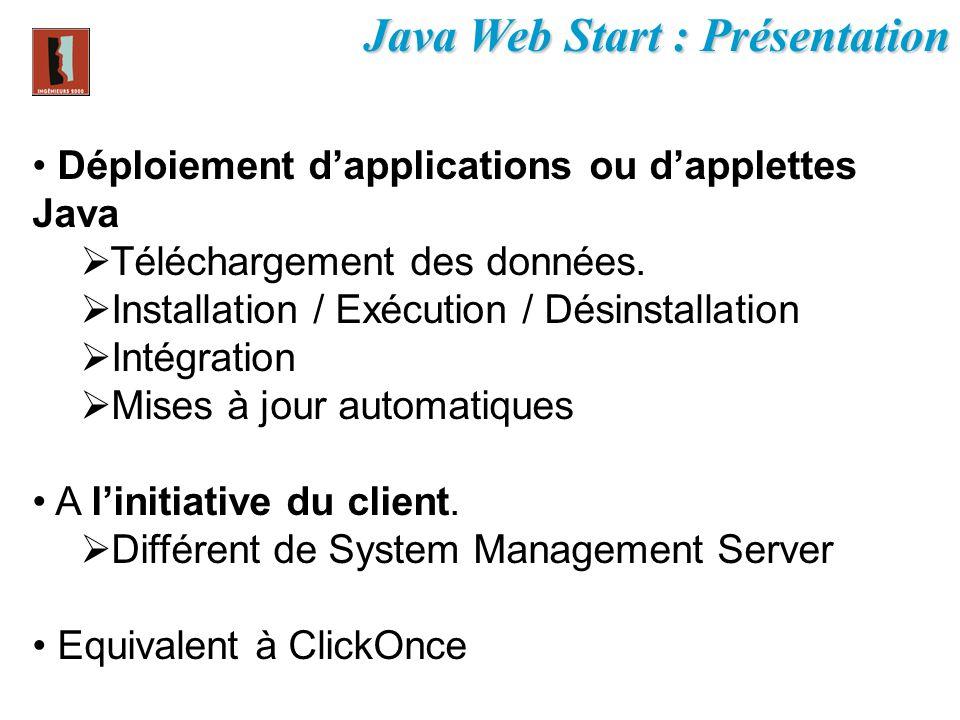 Java Web Start : Présentation Déploiement dapplications ou dapplettes Java Téléchargement des données. Installation / Exécution / Désinstallation Inté