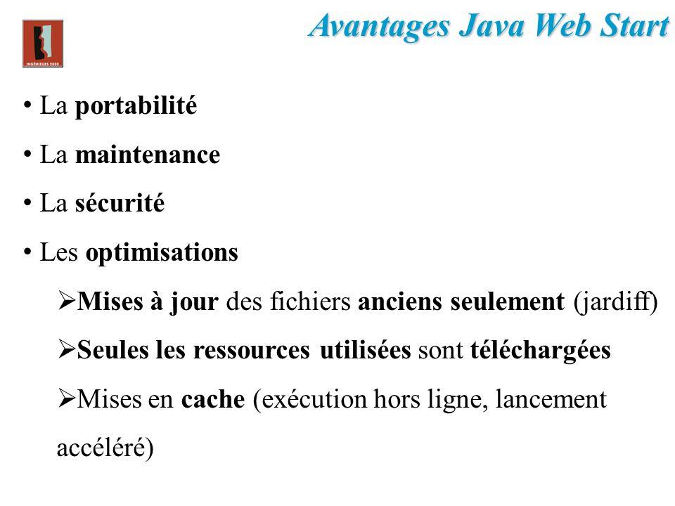 Avantages Java Web Start La portabilité La maintenance La sécurité Les optimisations Mises à jour des fichiers anciens seulement (jardiff) Seules les