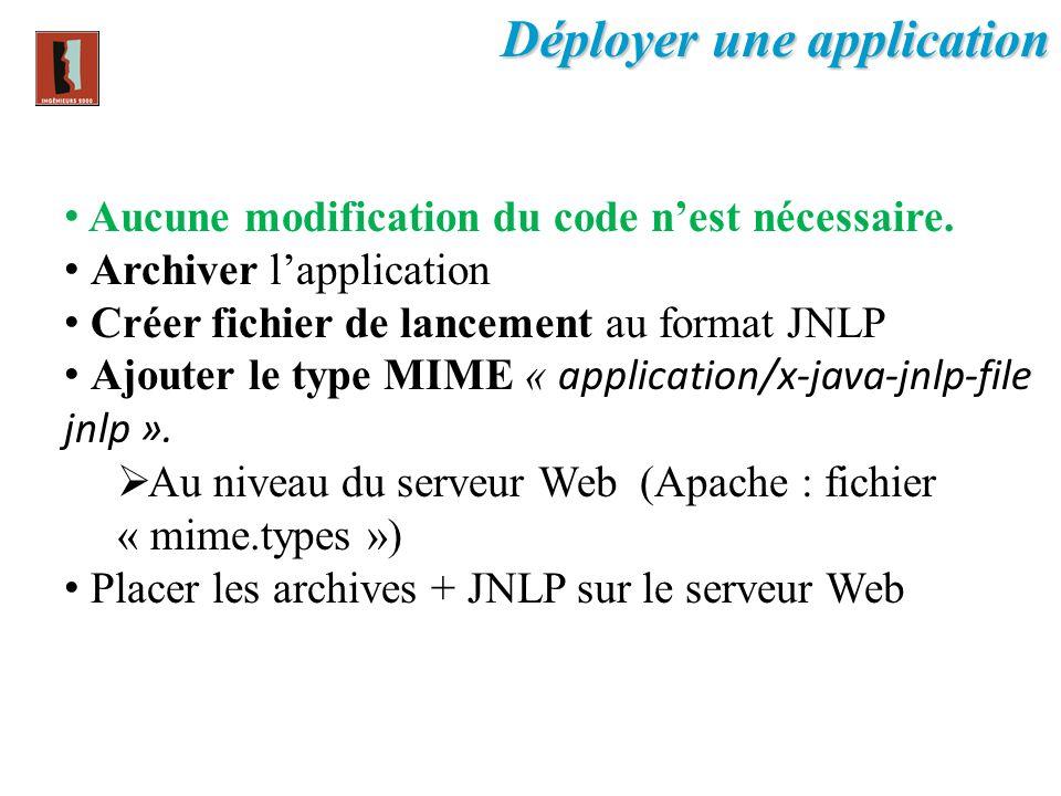 Aucune modification du code nest nécessaire. Archiver lapplication Créer fichier de lancement au format JNLP Ajouter le type MIME « application/x-java