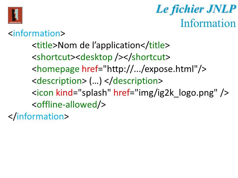 Le fichier JNLP Information Nom de lapplication (…)