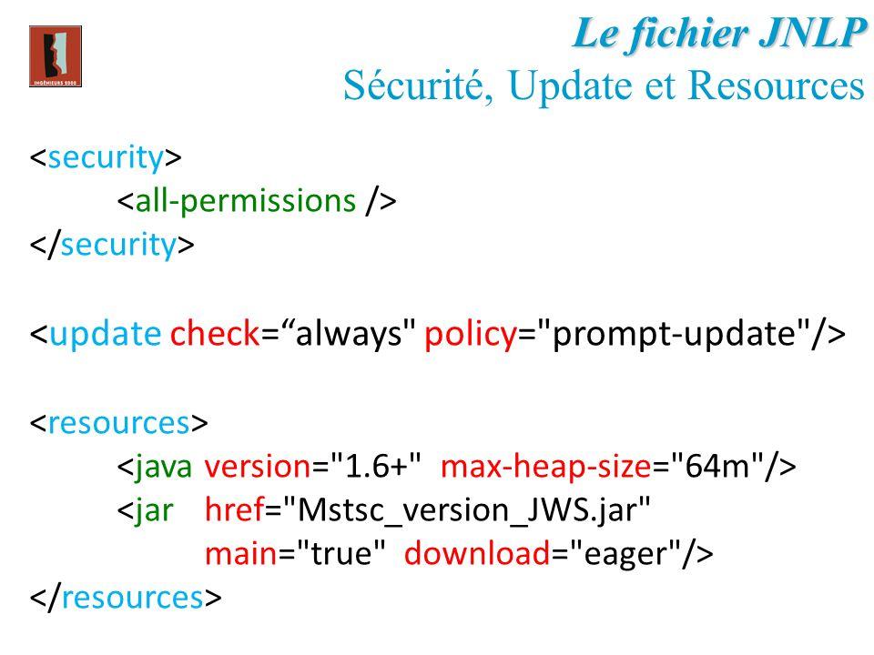 Le fichier JNLP Sécurité, Update et Resources <jar href=