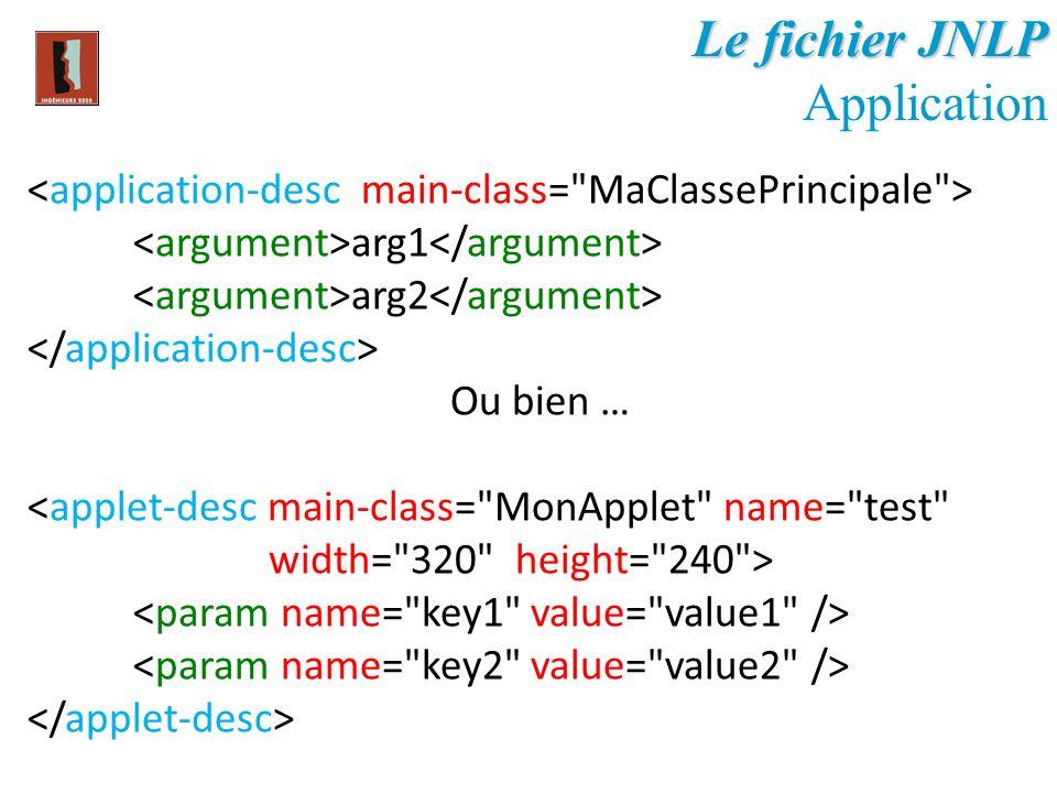 Le fichier JNLP Application arg1 arg2 Ou bien …