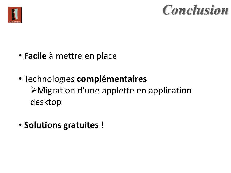 Facile à mettre en place Technologies complémentaires Migration dune applette en application desktop Solutions gratuites !Conclusion