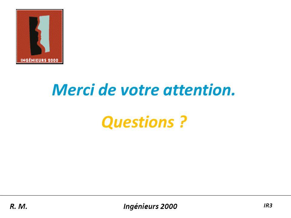 Merci de votre attention. Questions ? R. M.Ingénieurs 2000 IR3