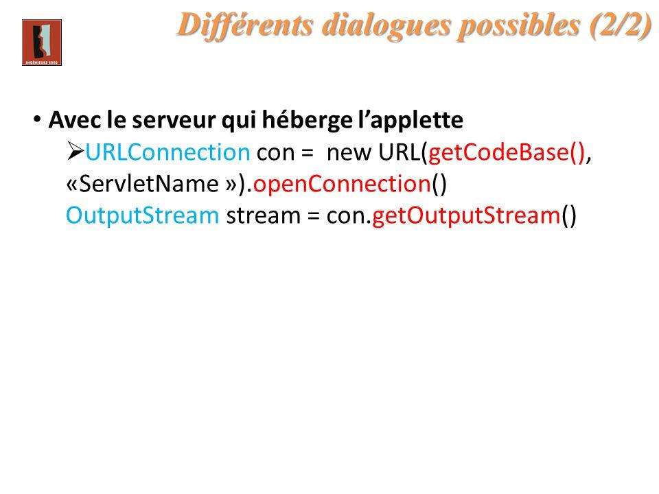 Différents dialogues possibles (2/2) Avec le serveur qui héberge lapplette URLConnection con = new URL(getCodeBase(), «ServletName »).openConnection()