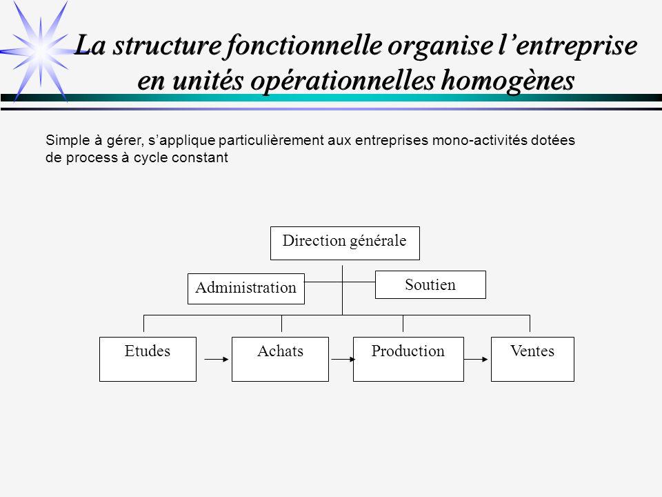 La structure divisionnelle organise lentreprise en Centre de Profit Sapplique particulièrement aux entreprises pluriactivités, chacune évoluant sur des marchés spécifiques.