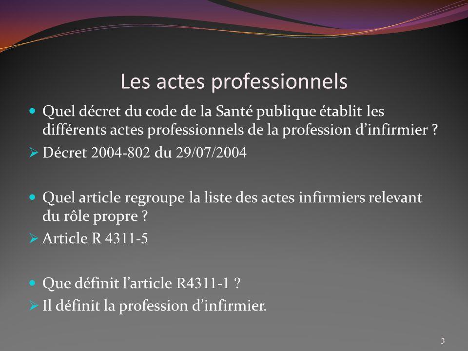 Les actes professionnels Quel est daprès larticle R 4311-1 la définition de la profession dinfirmier .
