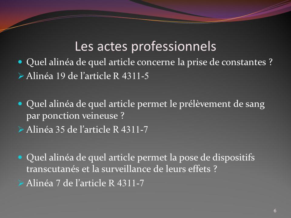 Les actes professionnels Que stipule lalinéa 1 de larticle R 4311-5 .