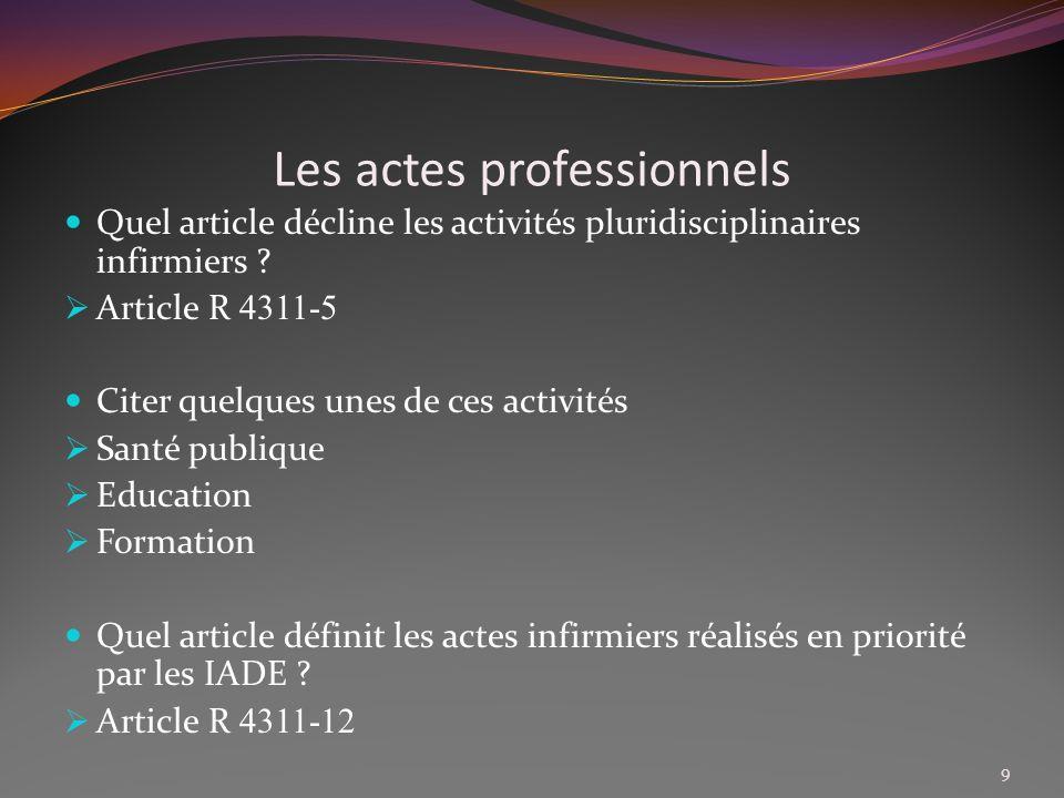 Les actes professionnels Que définit larticle R 4311-13 .