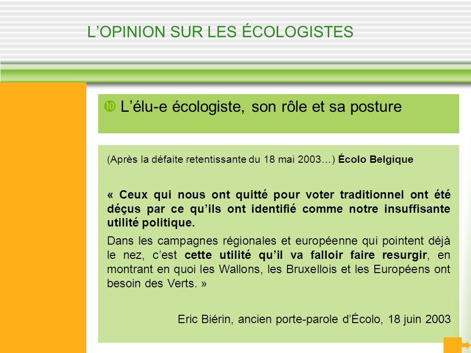 LOPINION SUR LES ÉCOLOGISTES Lélu-e écologiste, son rôle et sa posture (Après la défaite retentissante du 18 mai 2003…) Écolo Belgique « Ceux qui nous