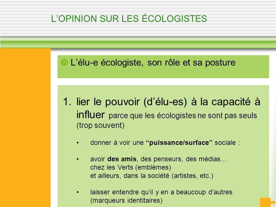 LOPINION SUR LES ÉCOLOGISTES Lélu-e écologiste, son rôle et sa posture 1.lier le pouvoir (délu-es) à la capacité à influer parce que les écologistes n