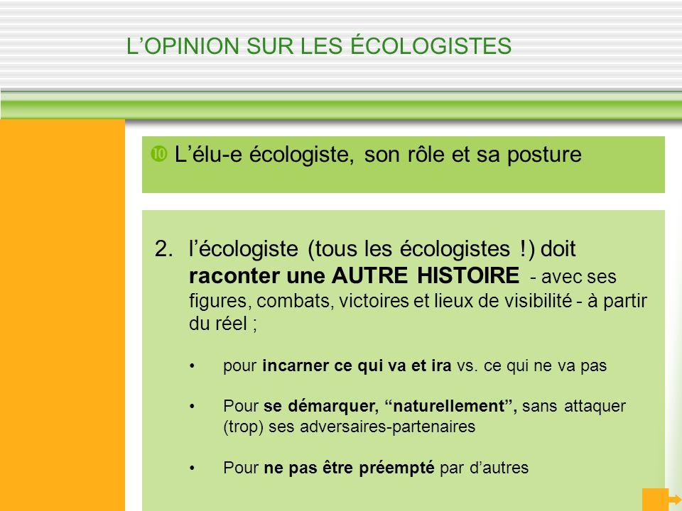 LOPINION SUR LES ÉCOLOGISTES Lélu-e écologiste, son rôle et sa posture 2.lécologiste (tous les écologistes !) doit raconter une AUTRE HISTOIRE - avec