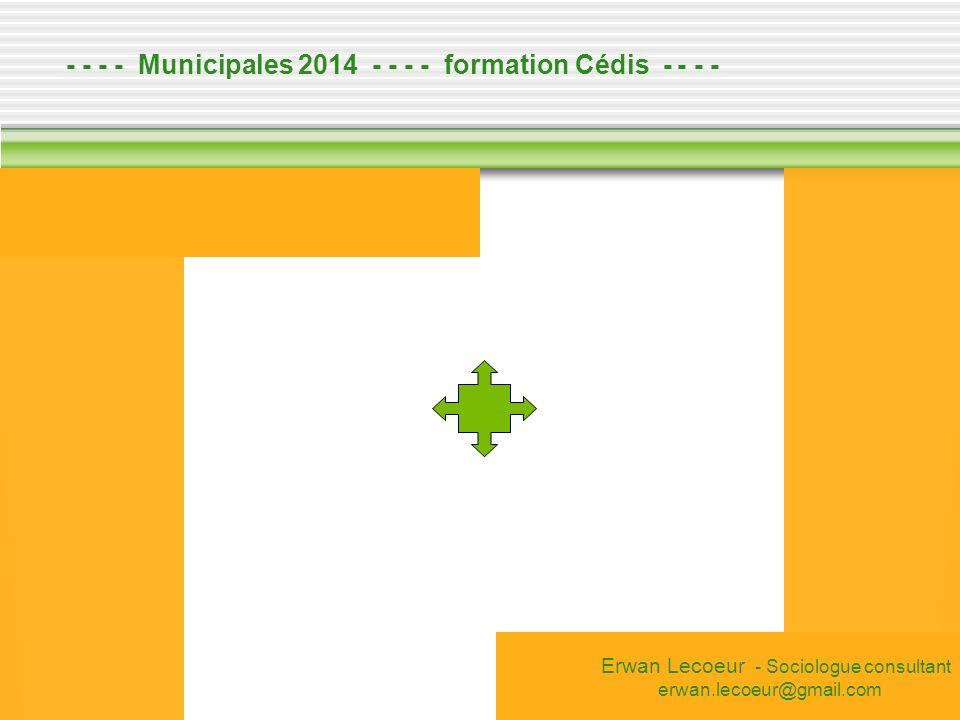 - - - - Municipales 2014 - - - - formation Cédis - - - - Erwan Lecoeur - Sociologue consultant erwan.lecoeur@gmail.com