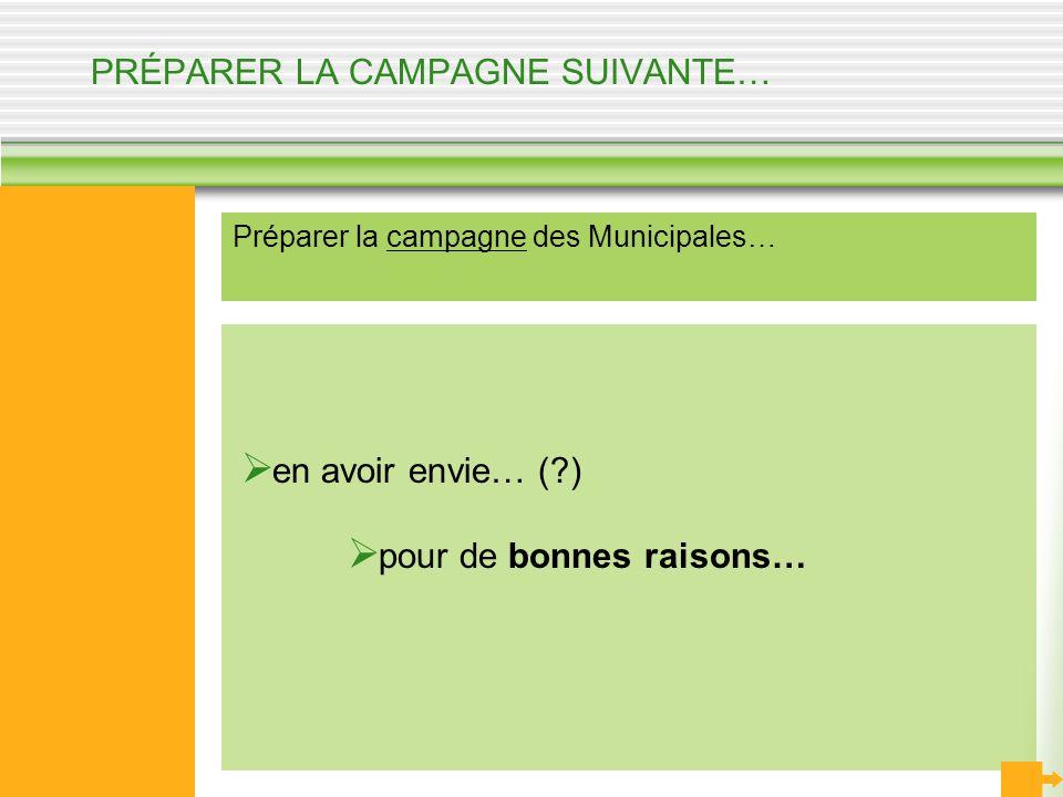 PRÉPARER LA CAMPAGNE SUIVANTE… Préparer la campagne des Municipales… en avoir envie… (?) pour de bonnes raisons…