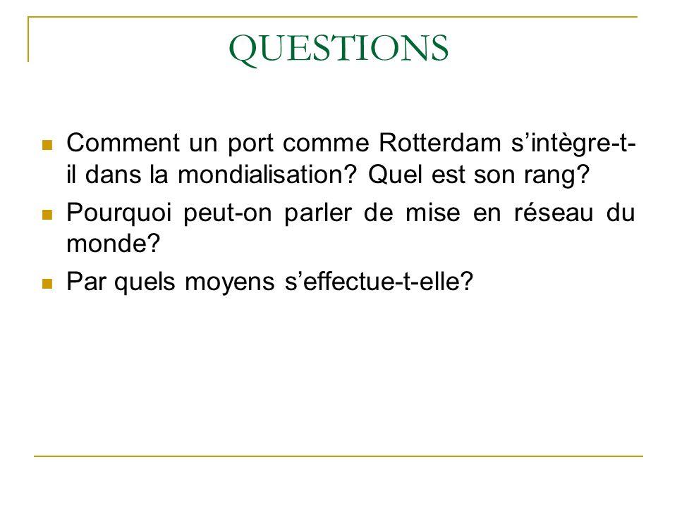 QUESTIONS Comment un port comme Rotterdam sintègre-t- il dans la mondialisation? Quel est son rang? Pourquoi peut-on parler de mise en réseau du monde