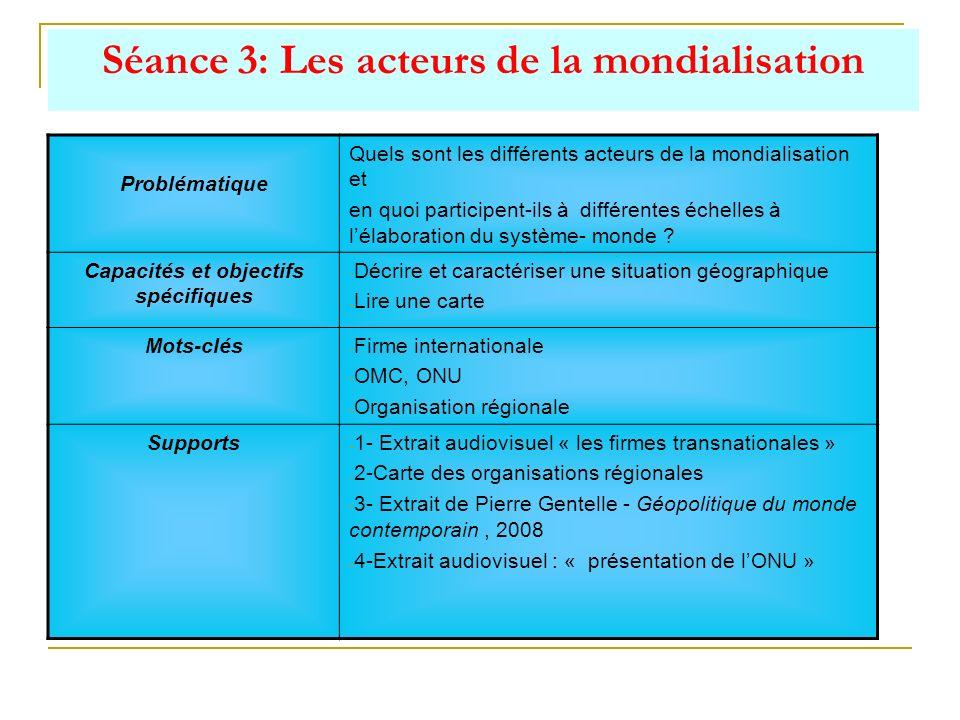 Séance 3: Les acteurs de la mondialisation Problématique Quels sont les différents acteurs de la mondialisation et en quoi participent-ils à différent