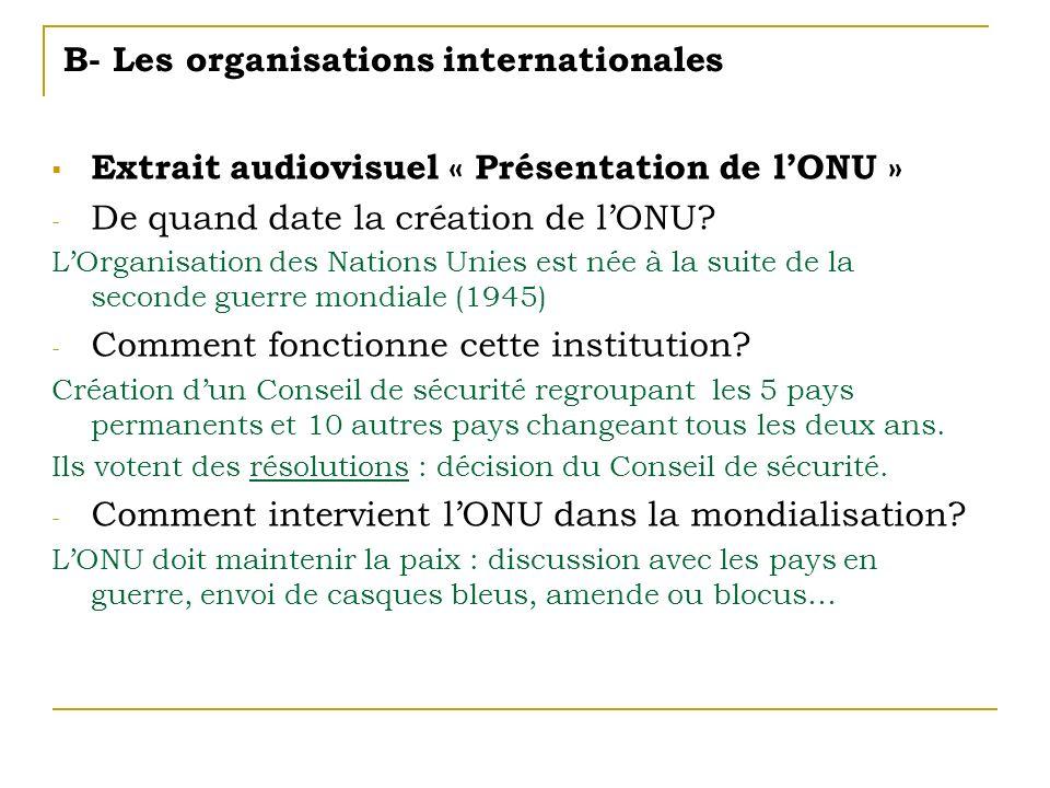 B- Les organisations internationales Extrait audiovisuel « Présentation de lONU » - De quand date la création de lONU? LOrganisation des Nations Unies